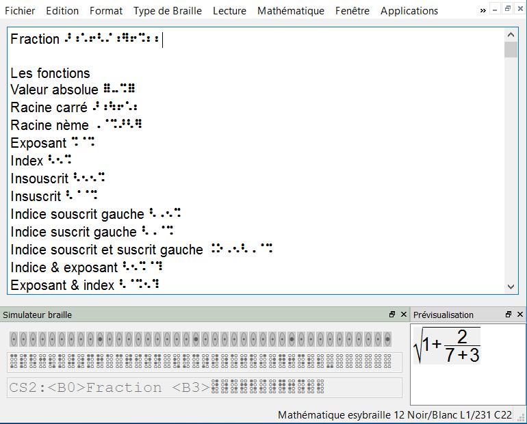 """Exemple d'écran avec transcription et clavier """"simulateur de Braille"""""""