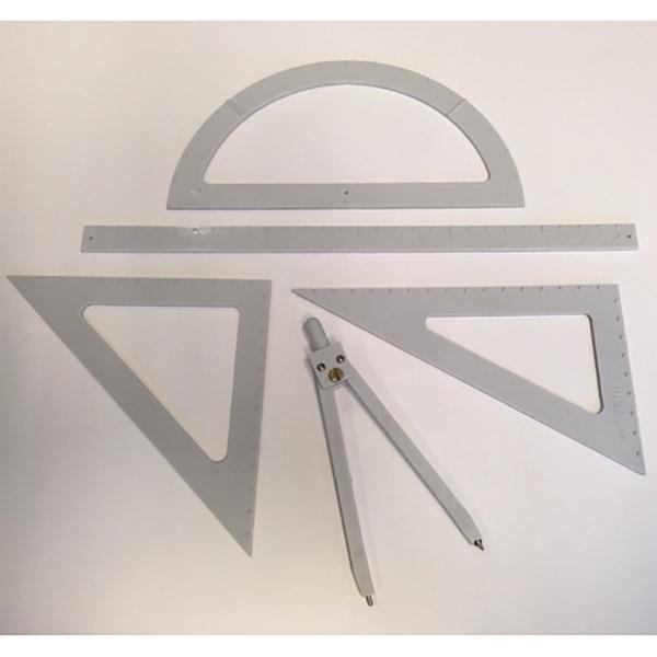 Kit complet de géométrie en relief pour la lecture tactile des aveugles